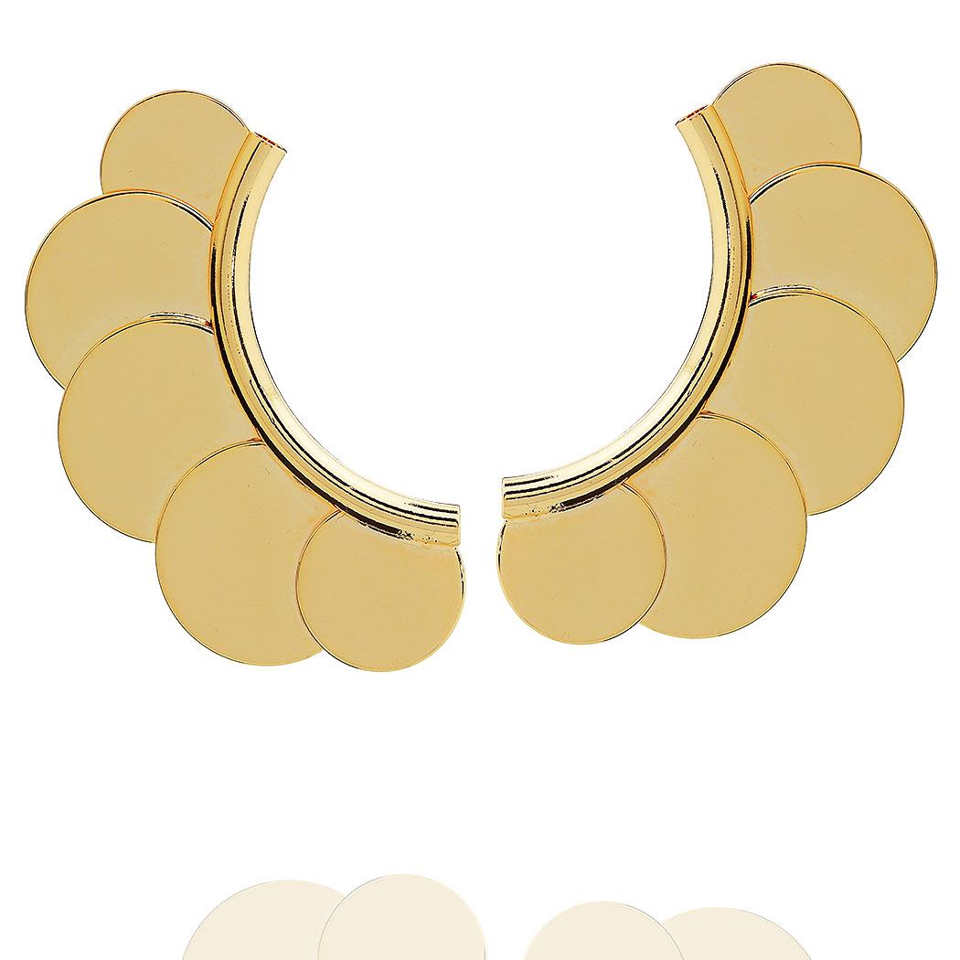 brinco ear cuff medalhas dourado