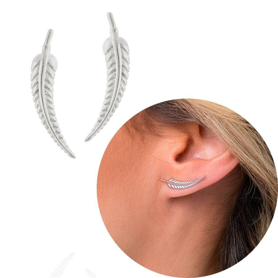 brinco ear cuff pena ródio claro