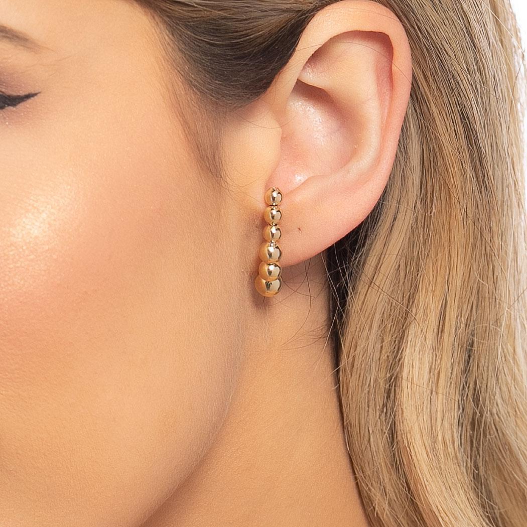 brinco ear hook bolas semijoia dourado