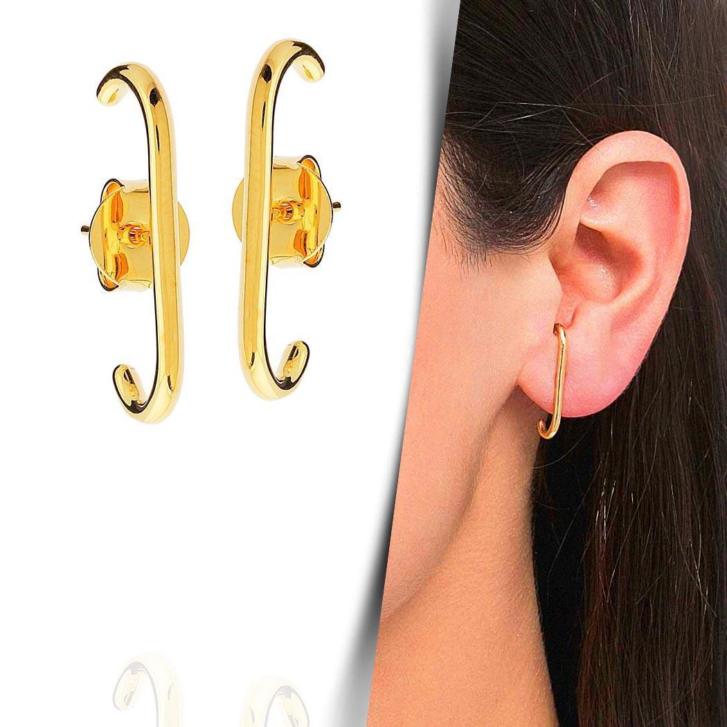 brinco ear hook liso dourado