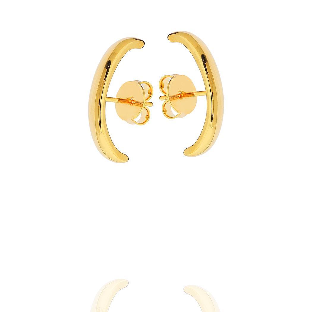 brinco ear hook liso curvado dourado