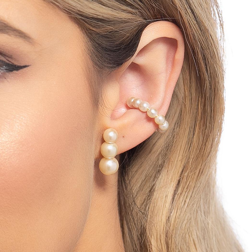 brinco ear hook pérolas dourado
