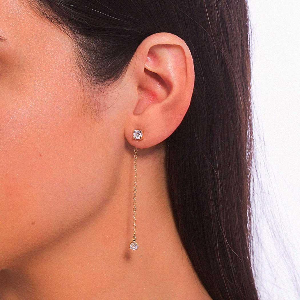 brinco ear jacket zirconia zircônia corrente dourado