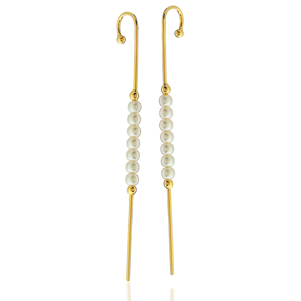 brinco ear pin pérolas dourado