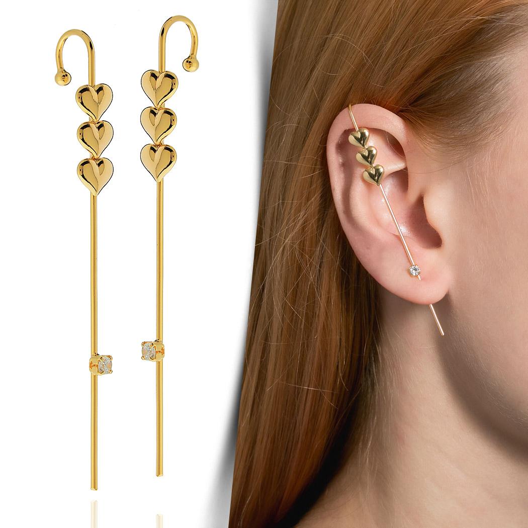 brinco ear pin piercing corações dourado
