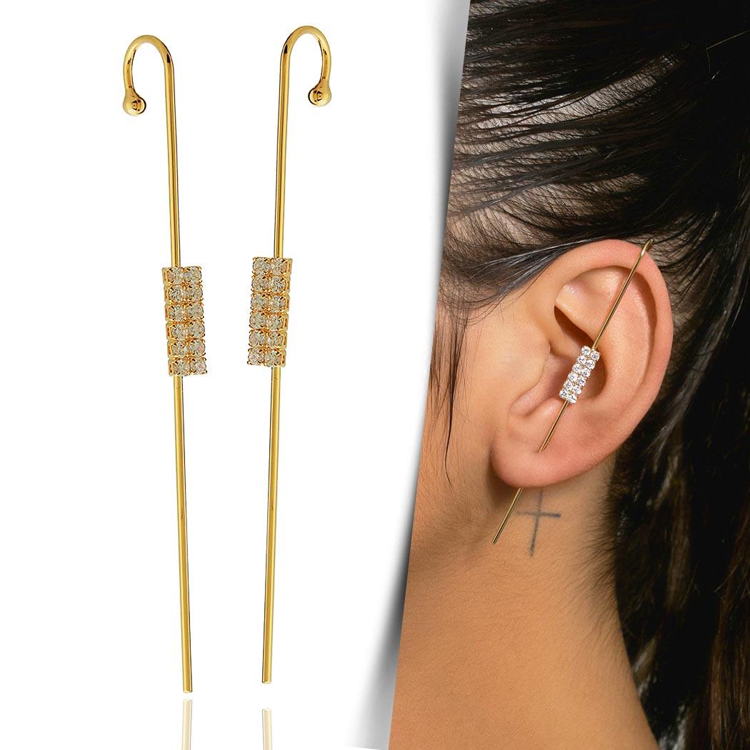 brinco ear pin piercing zircônias dourado