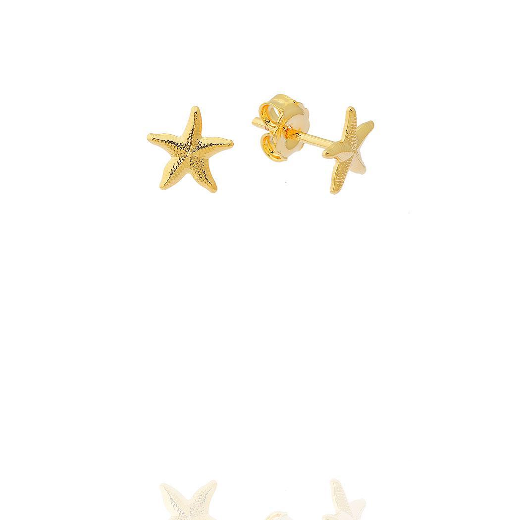 brinco estrela do mar pequeno dourado