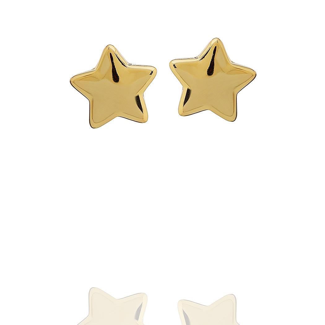 brinco estrela lisa pequeno dourado