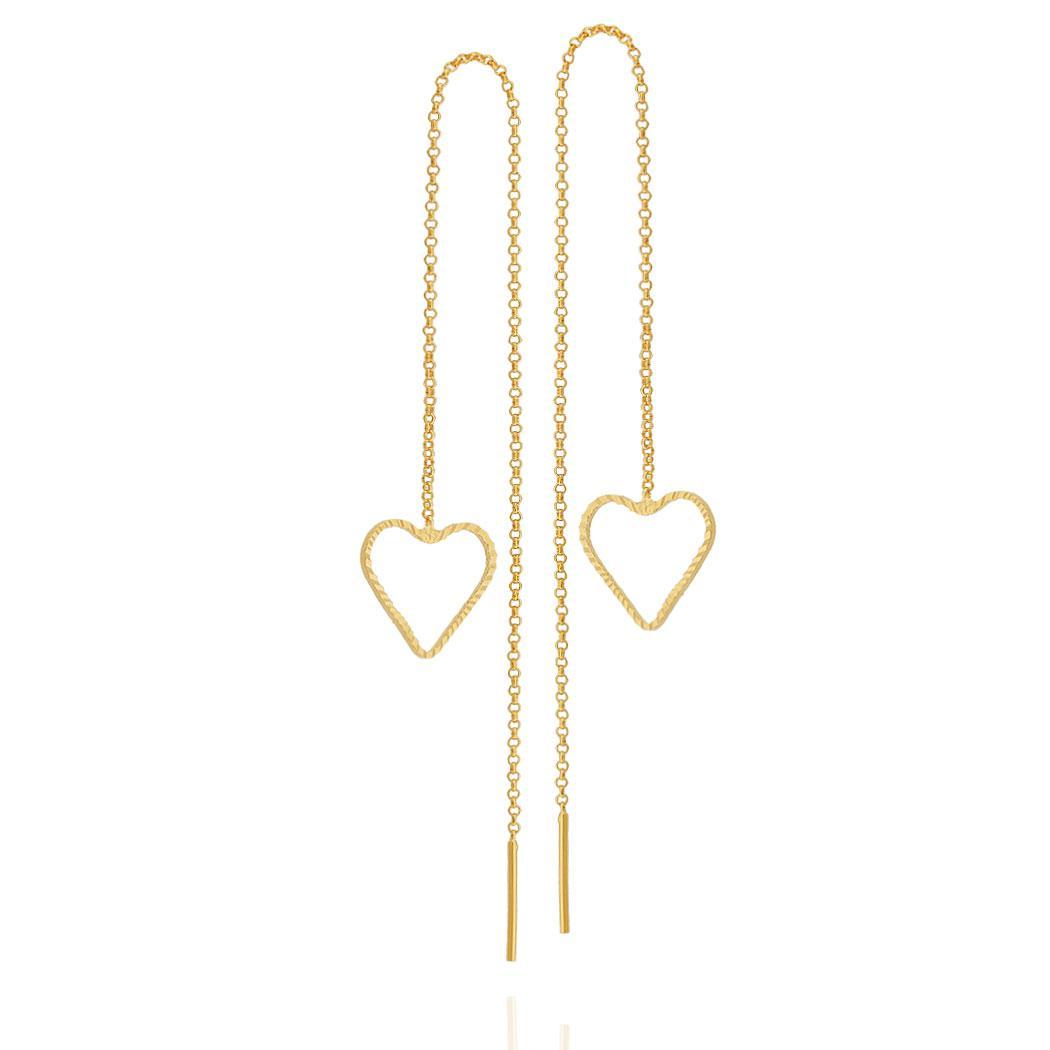 brinco fio passante coração dourado