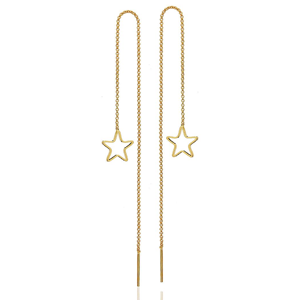 brinco fio passante estrela dourado