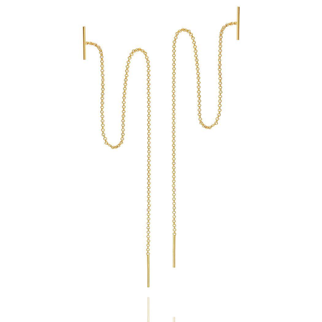 brinco fio corrente passante tubo dourado