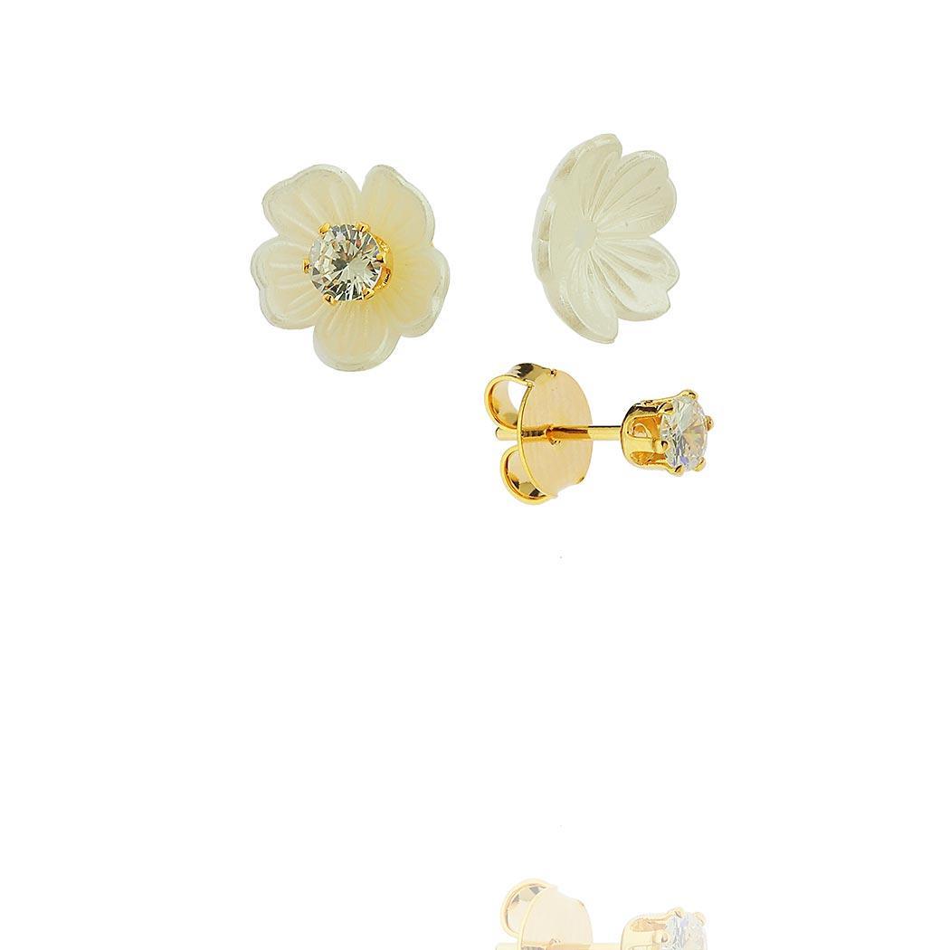 brinco flor solitário dourado