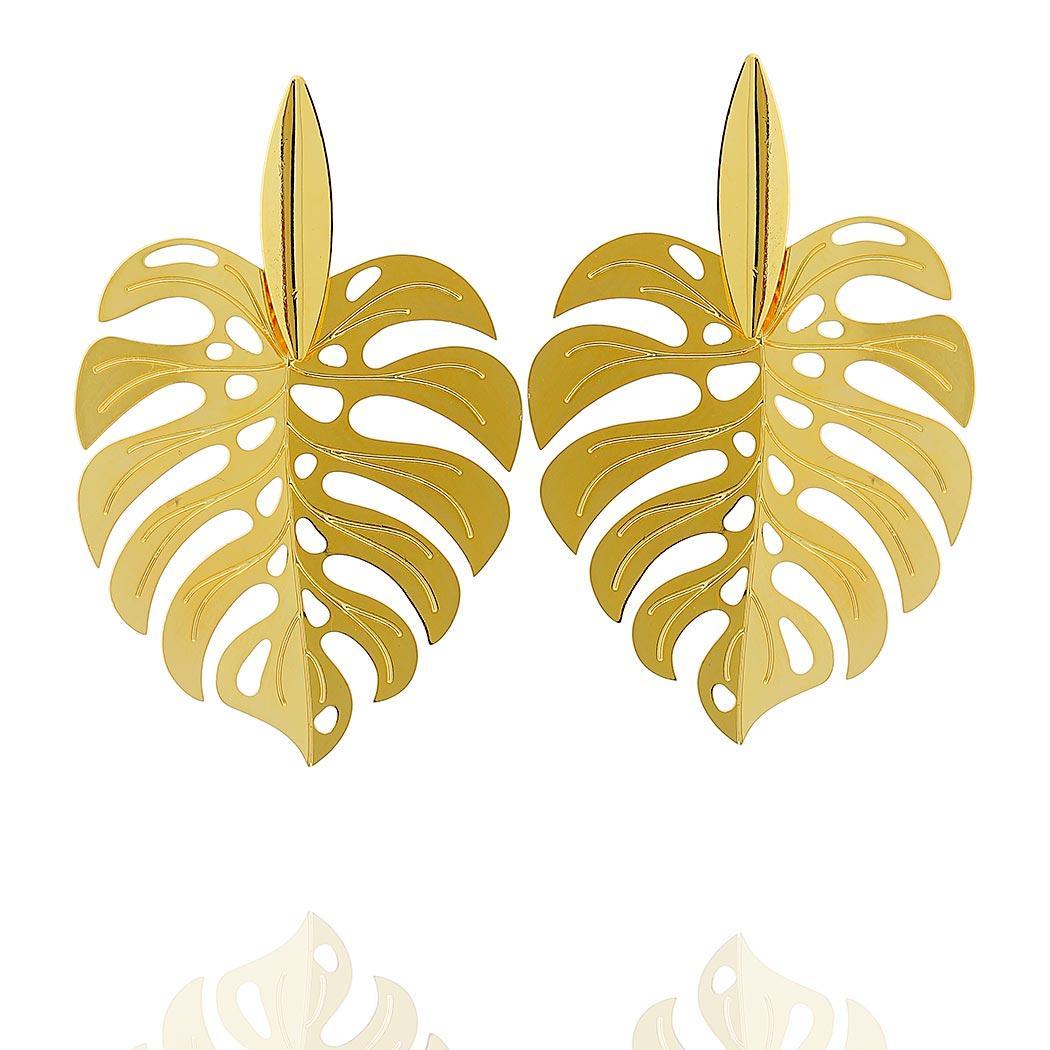brinco folha grande dourado