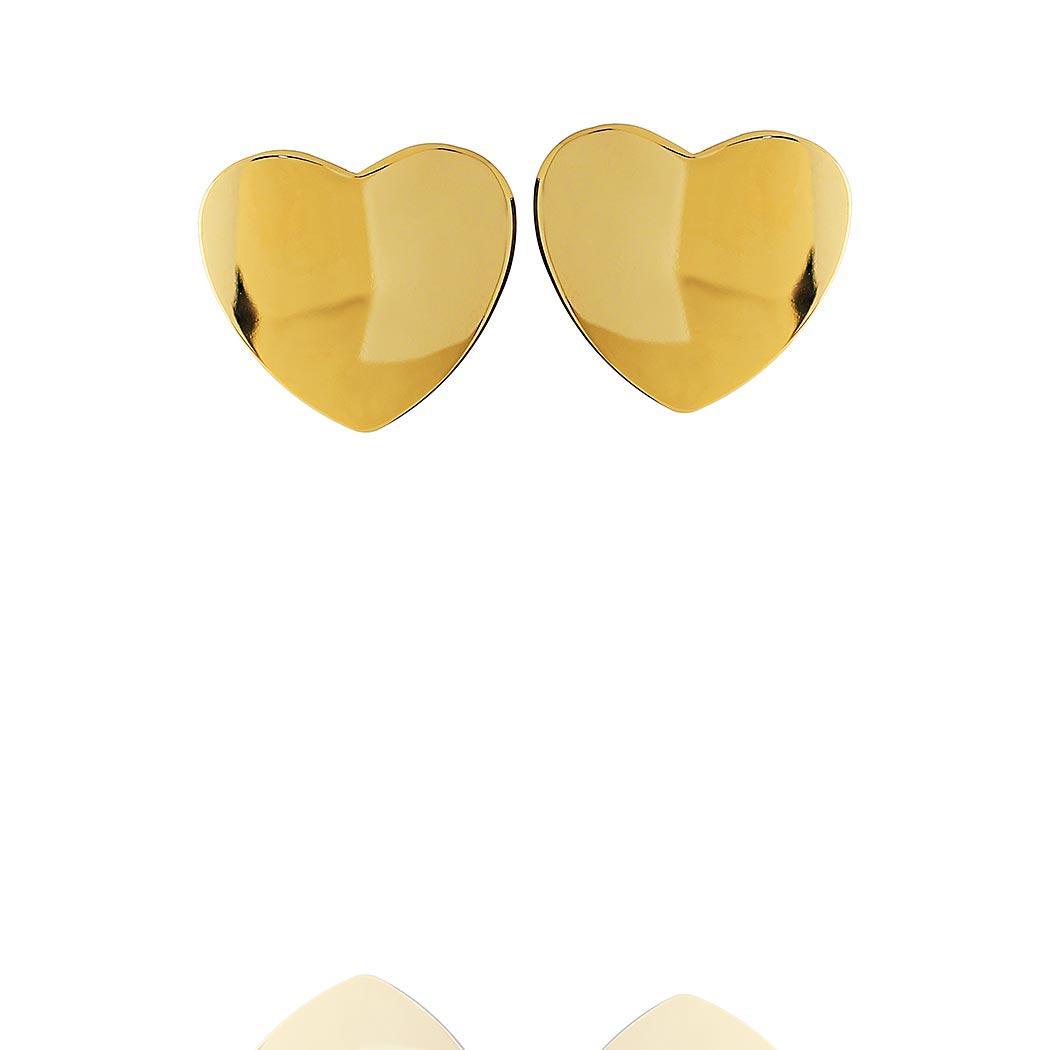 brinco formas coração liso dourado