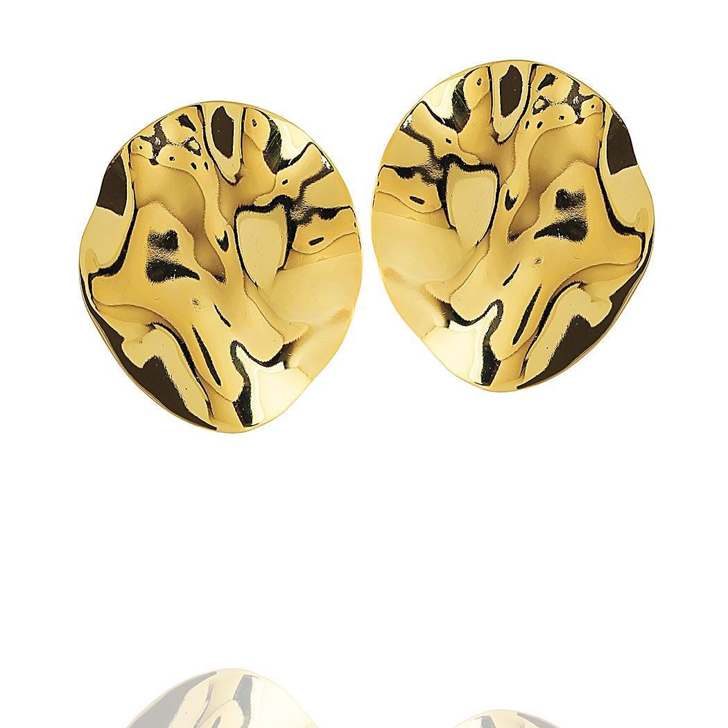 brinco formas oval ondas liso dourado