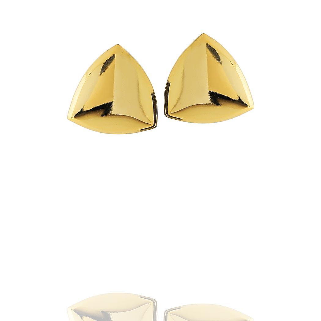 brinco formas triangulo liso dourado