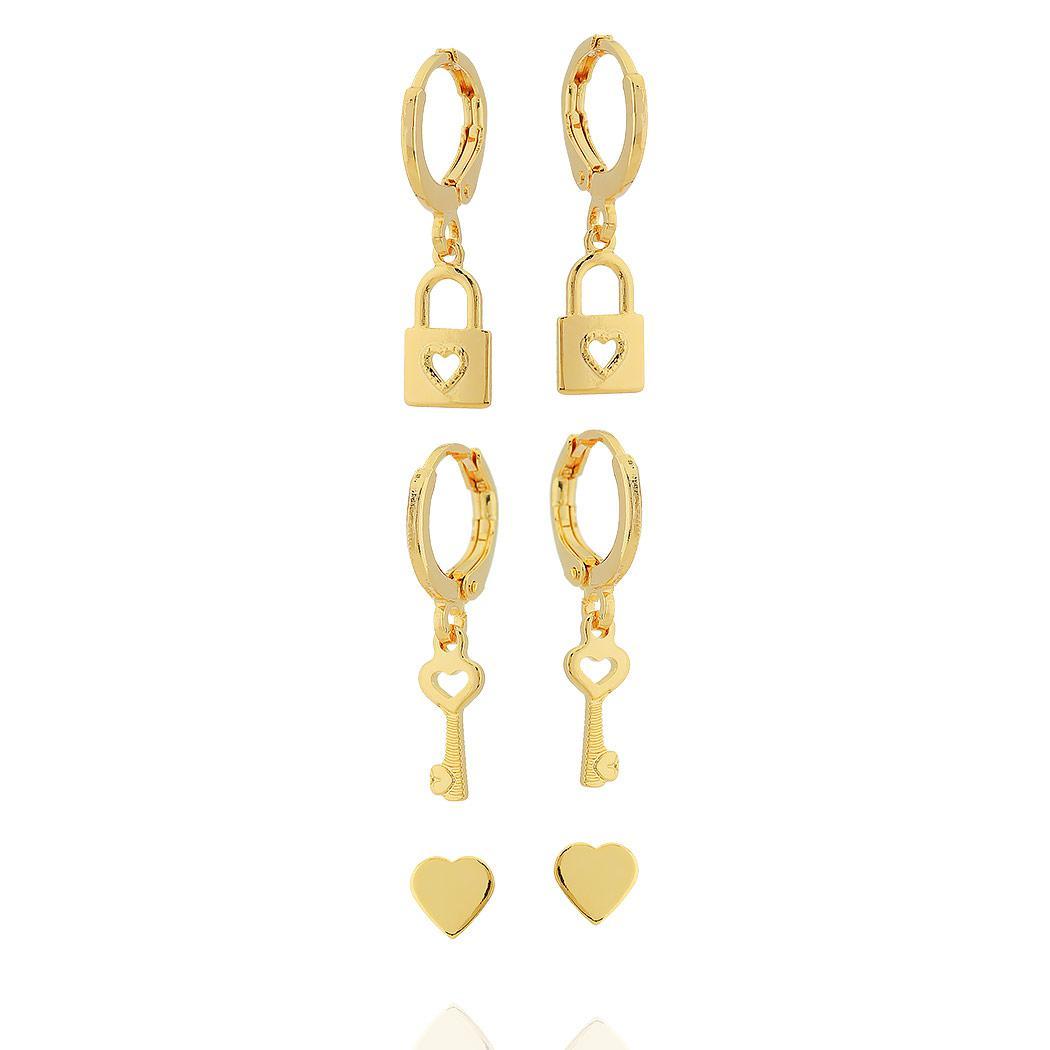 brinco kit trio argola cadeado chave coração dourado