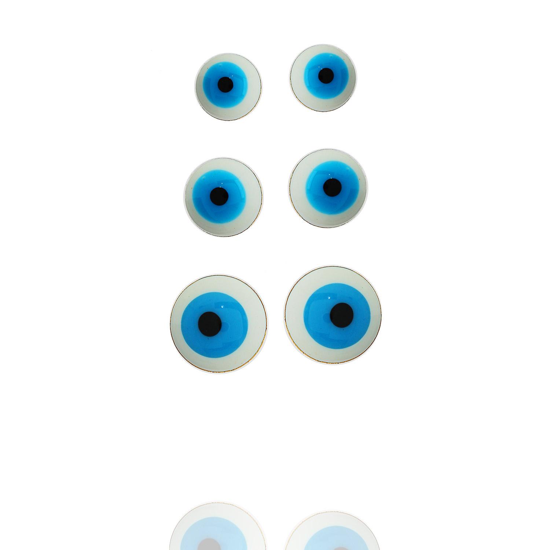 brinco kit trio olho grego dourado