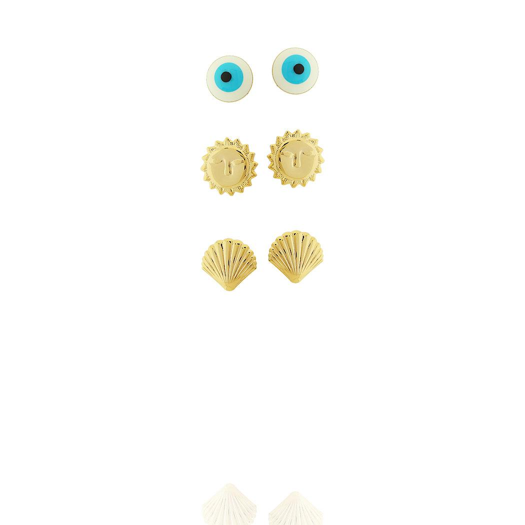 brinco kit trio olho grego sol concha dourado