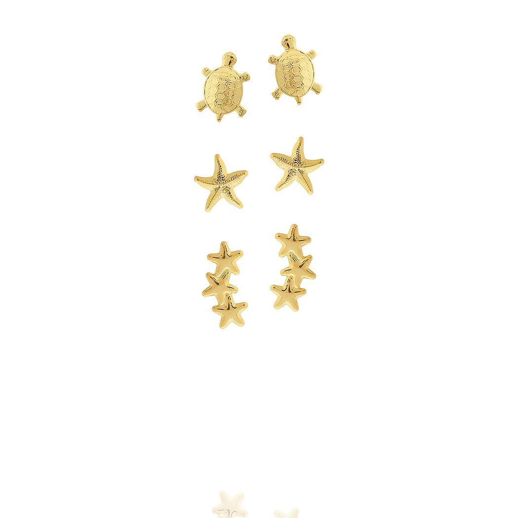 brinco kit trio tartaruga estrela do mar estrelas dourado