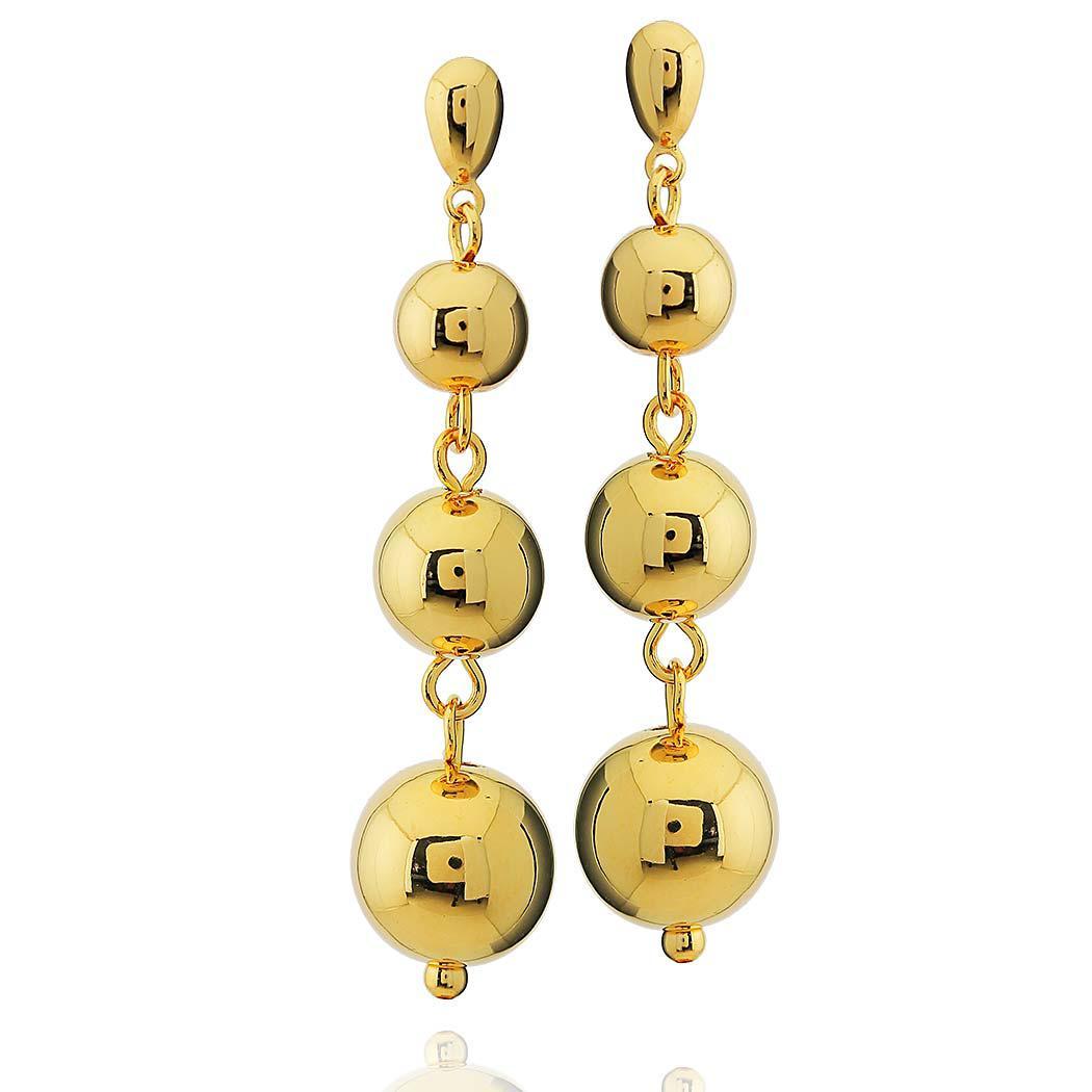 brinco médio bolas dourado
