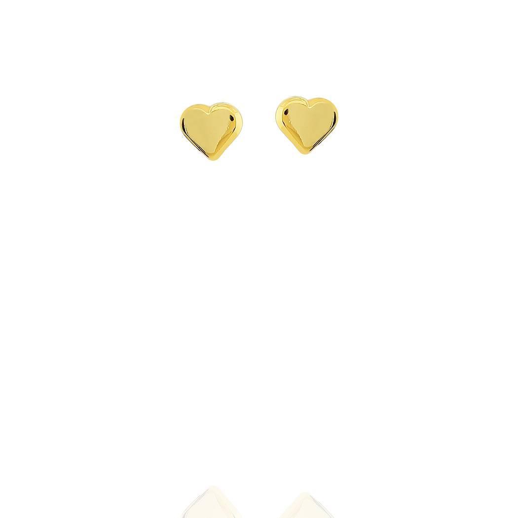 brinco mini coração liso dourado