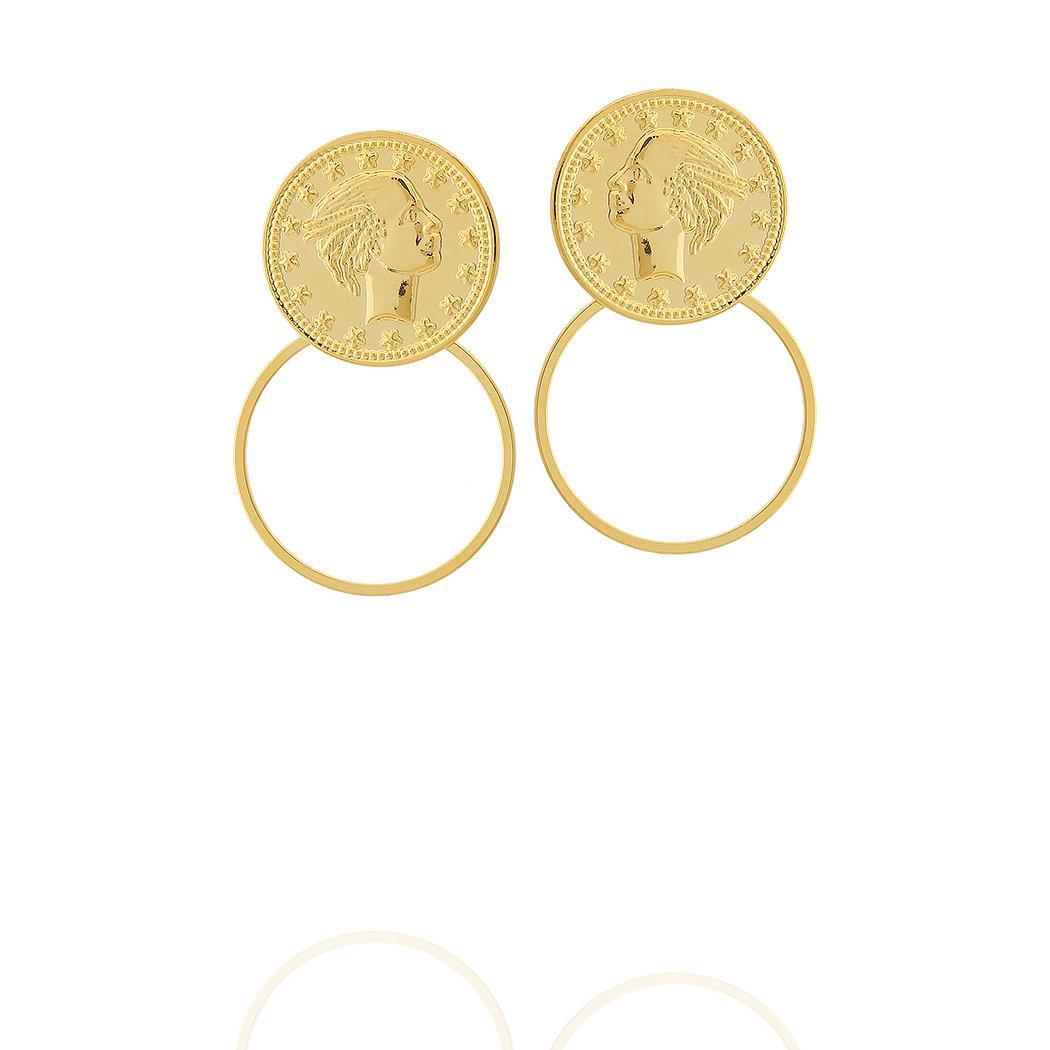 brinco moeda circulo médio dourado