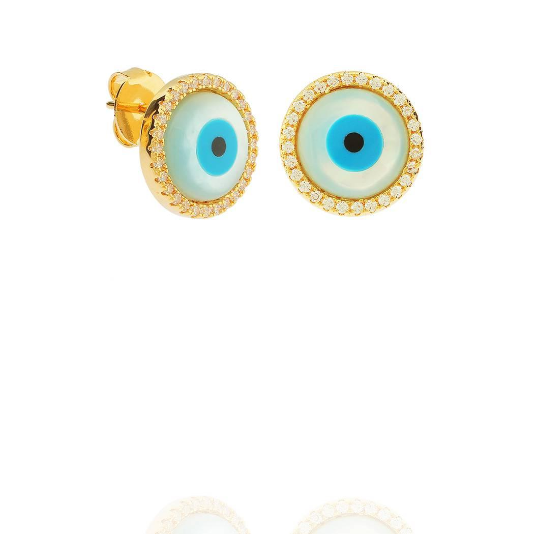brinco olho grego madrepérola dourado