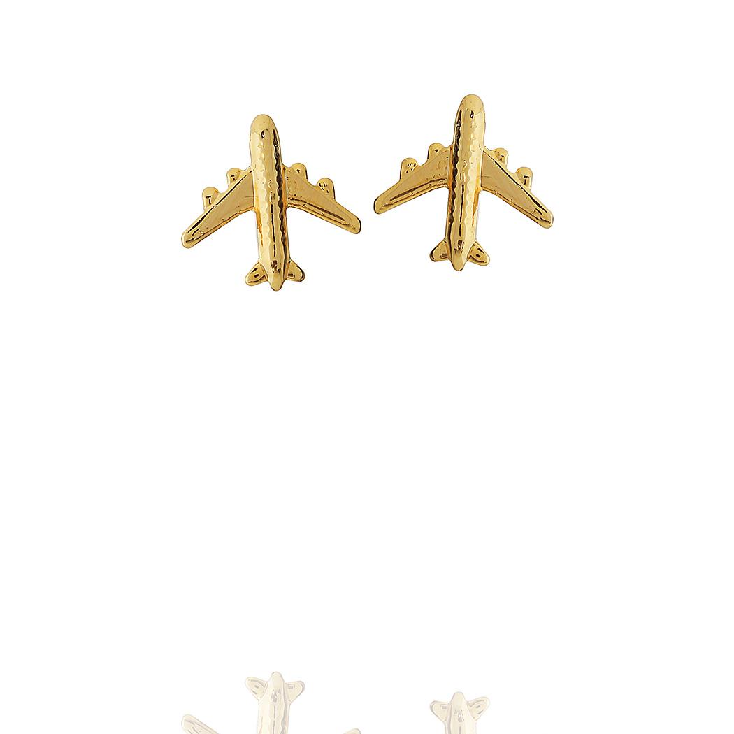 brinco pequeno avião liso dourado