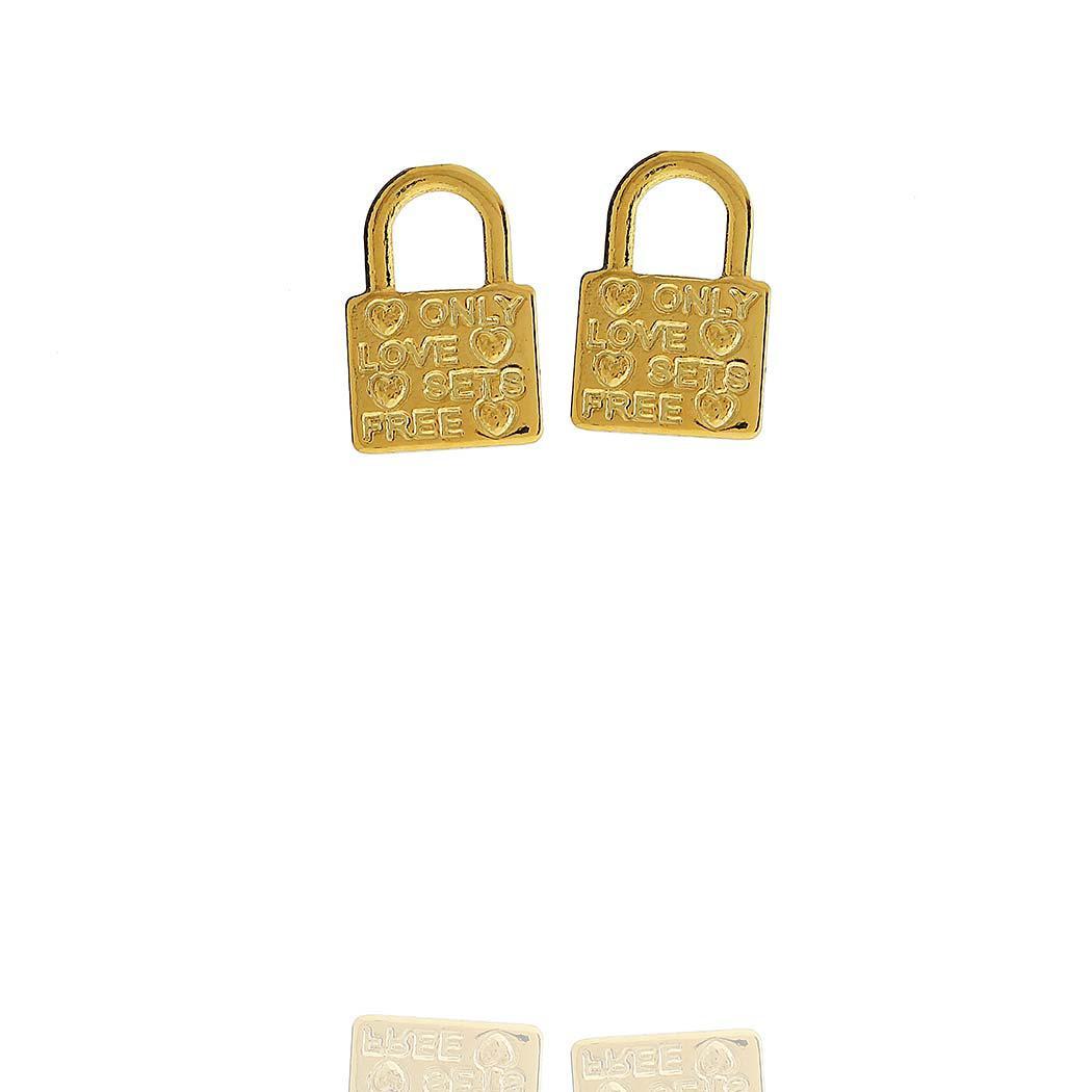 brinco pequeno cadeado love dourado