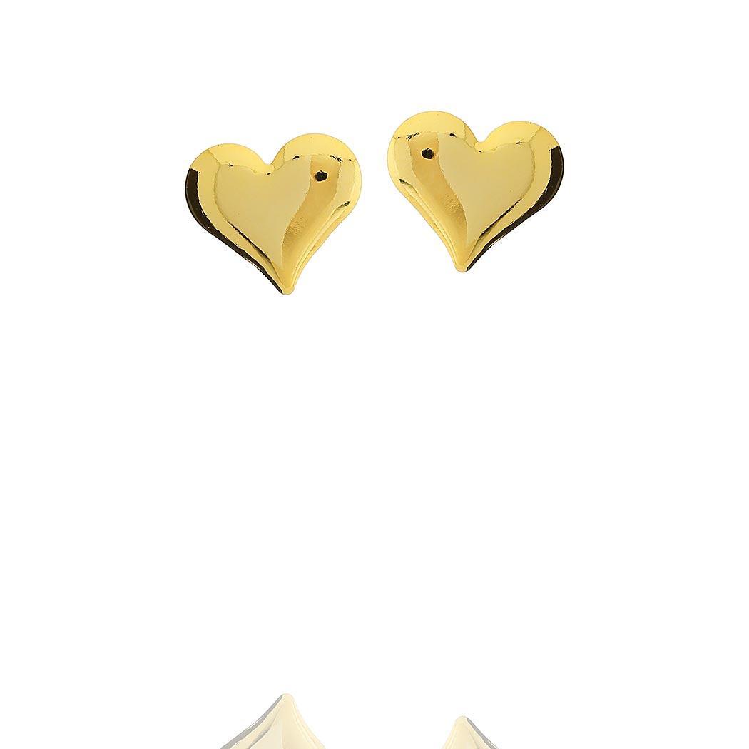 brinco pequeno coração liso dourado