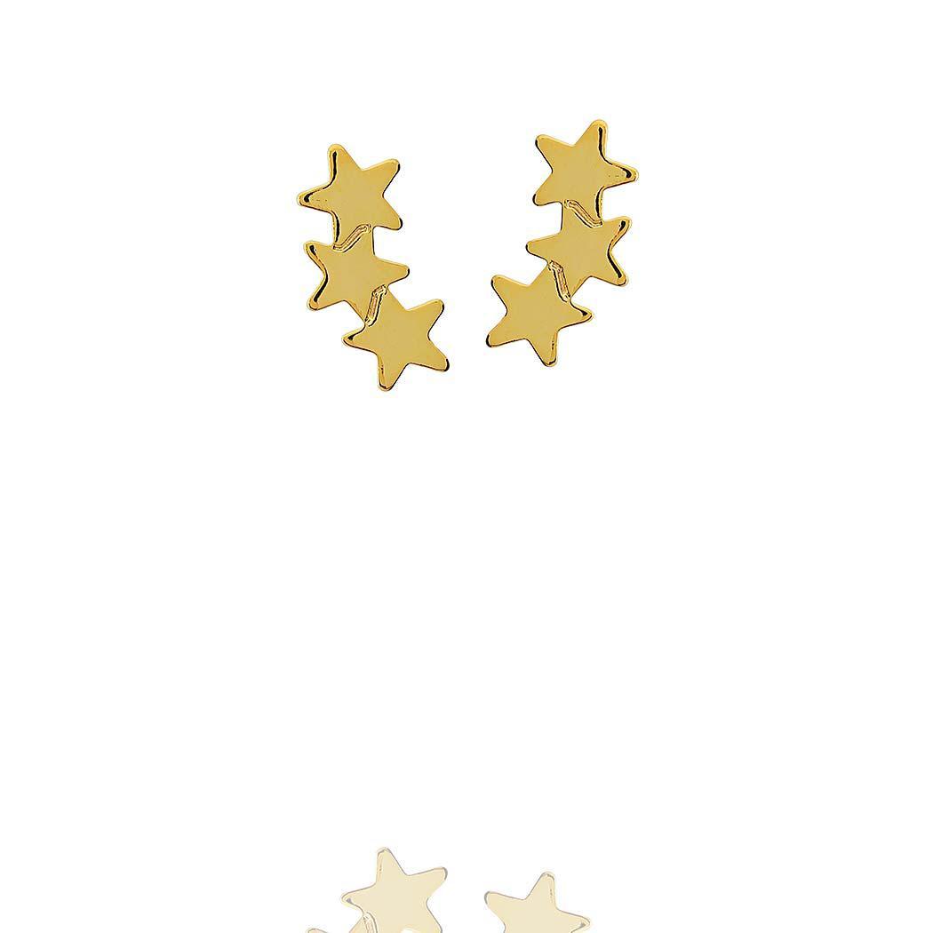 brinco pequeno estrelas liso dourado