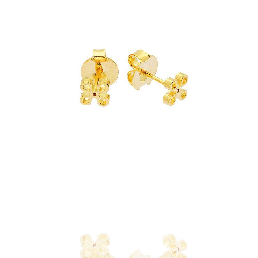 brinco pequeno flor dourado