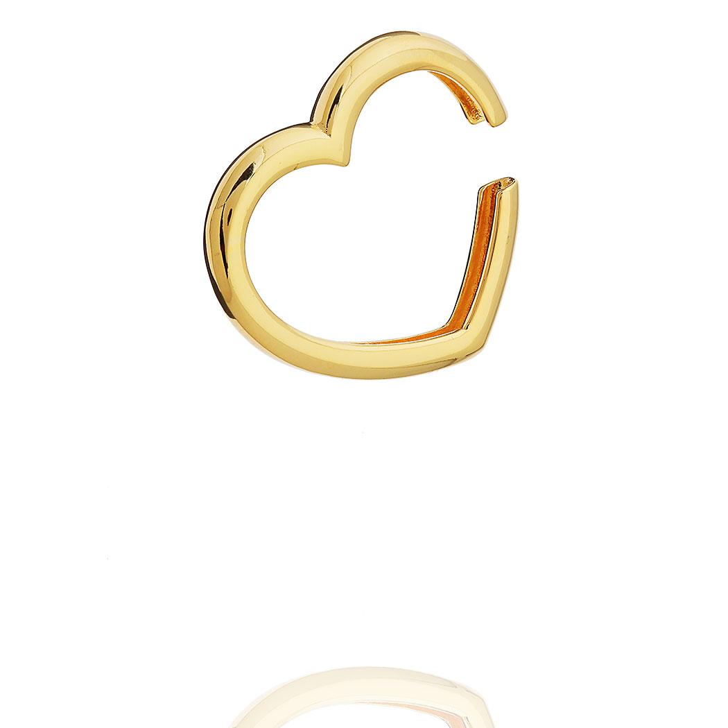 brinco piercing Daiany Hank fake coração grande dourado