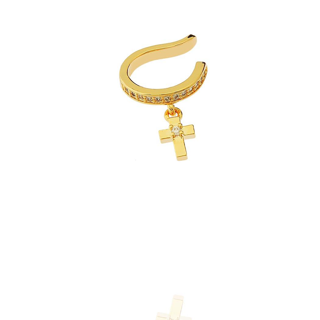 brinco piercing fake cravejado crucificxo dourado