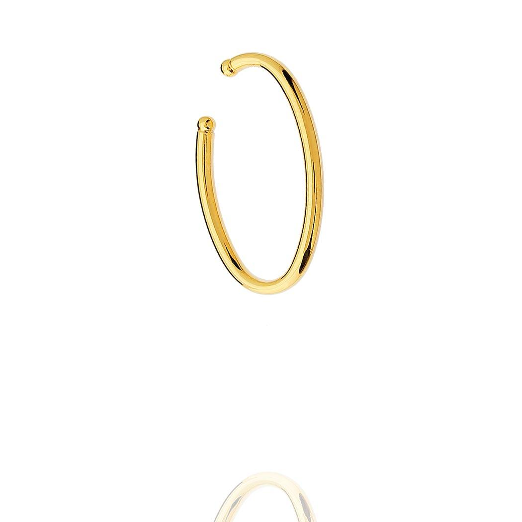 brinco piercing fake liso oval dourado