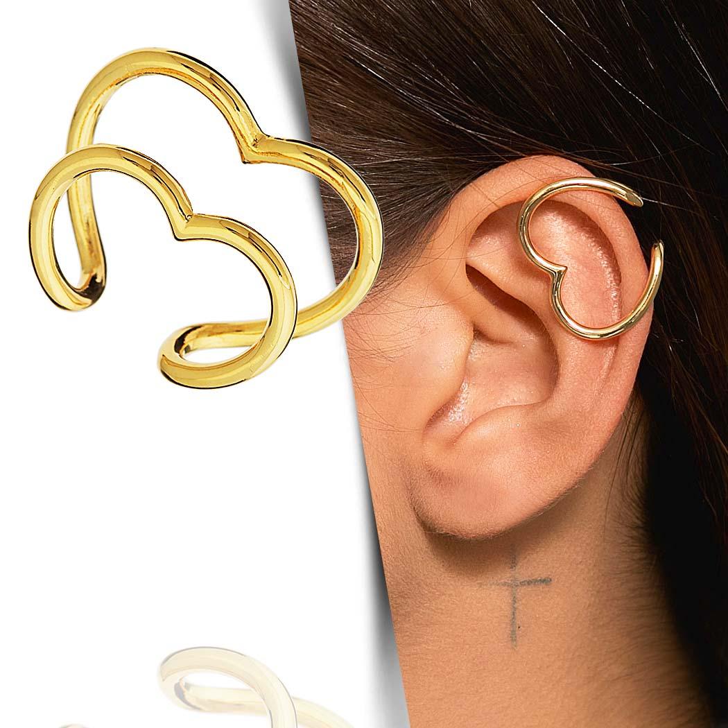 brinco piercing fake pressão coração duplo dourado
