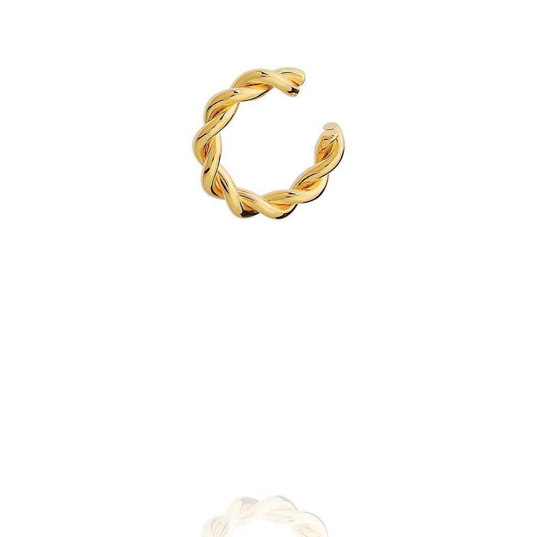 brinco piercing fake torcido dourado