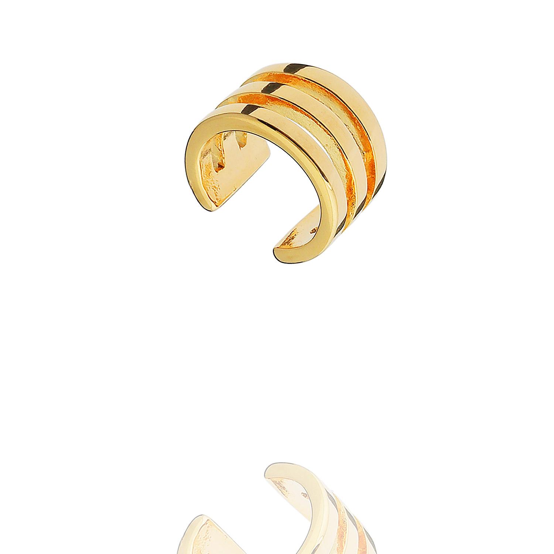 brinco piercing fake três aros dourado