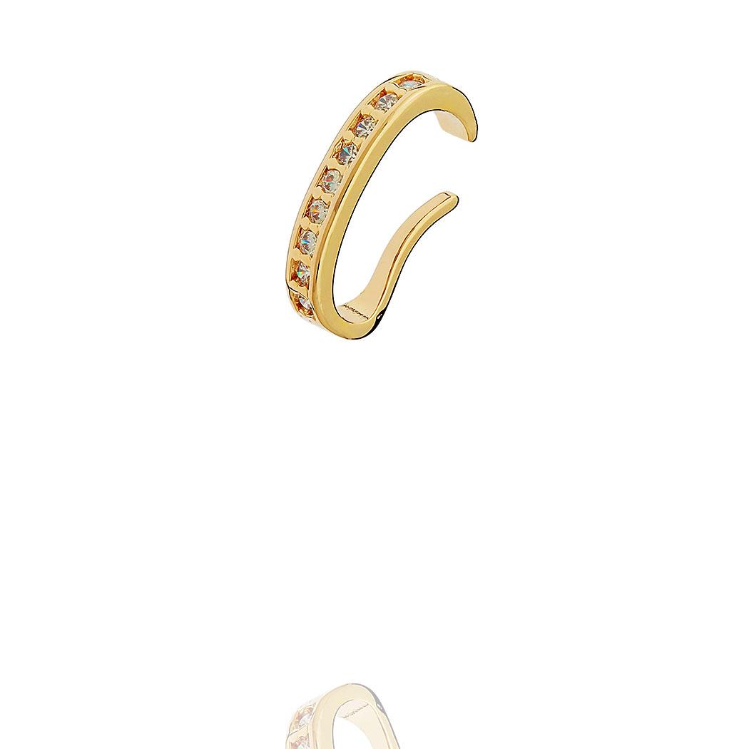 brinco piercing fake Daiany Hank oval zircônias dourado