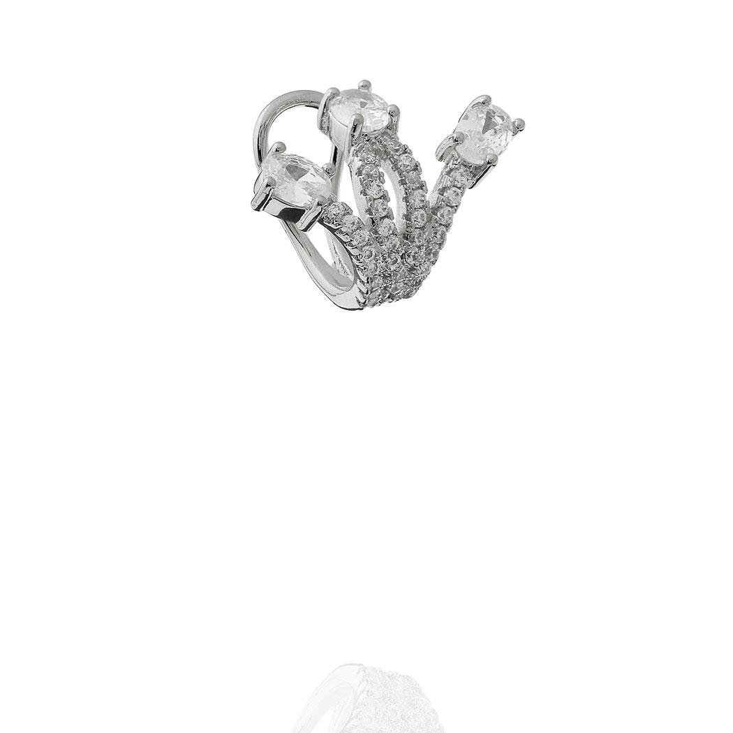 brinco piercing W zircônias ródio claro