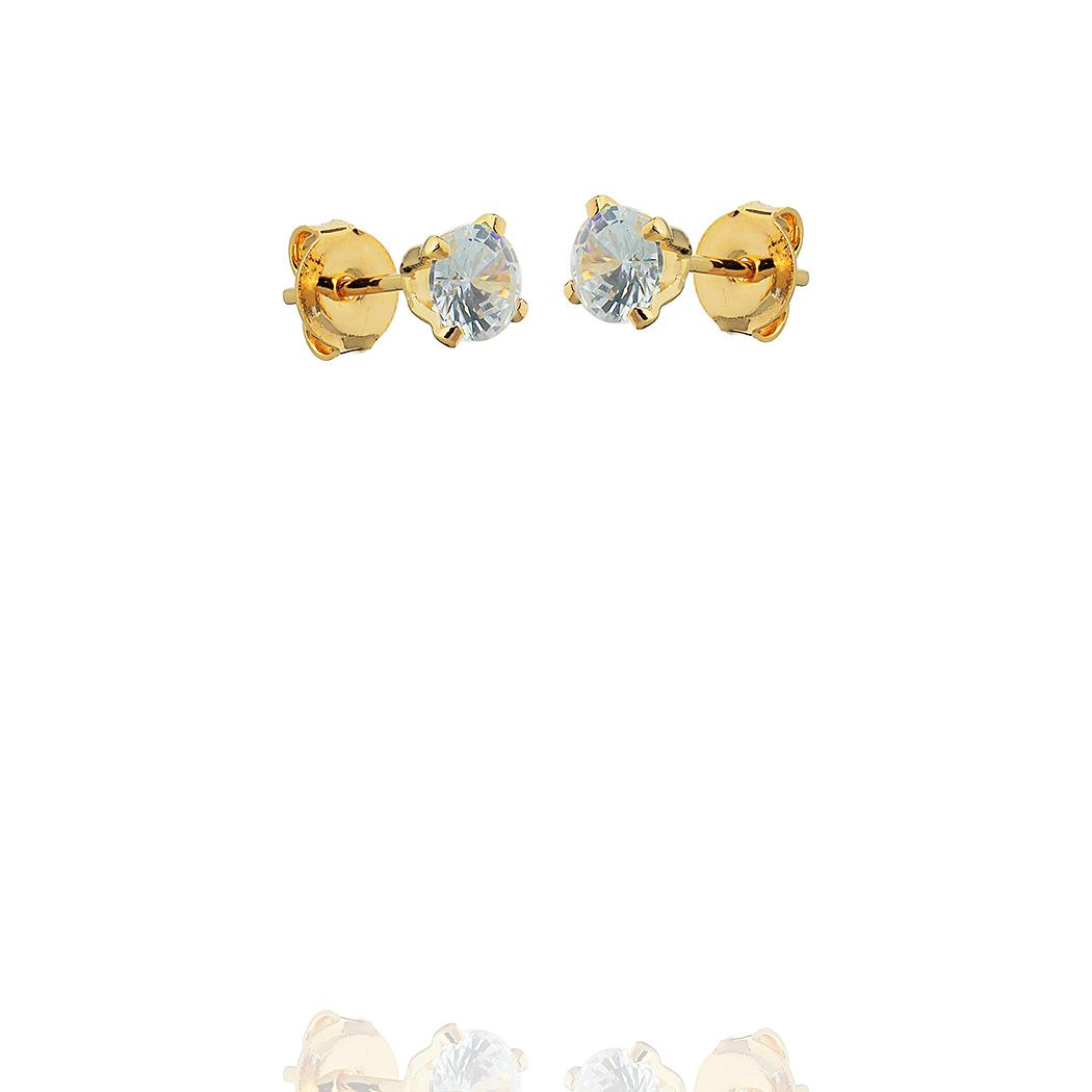 brinco solitário 5 mm zircônia dourado