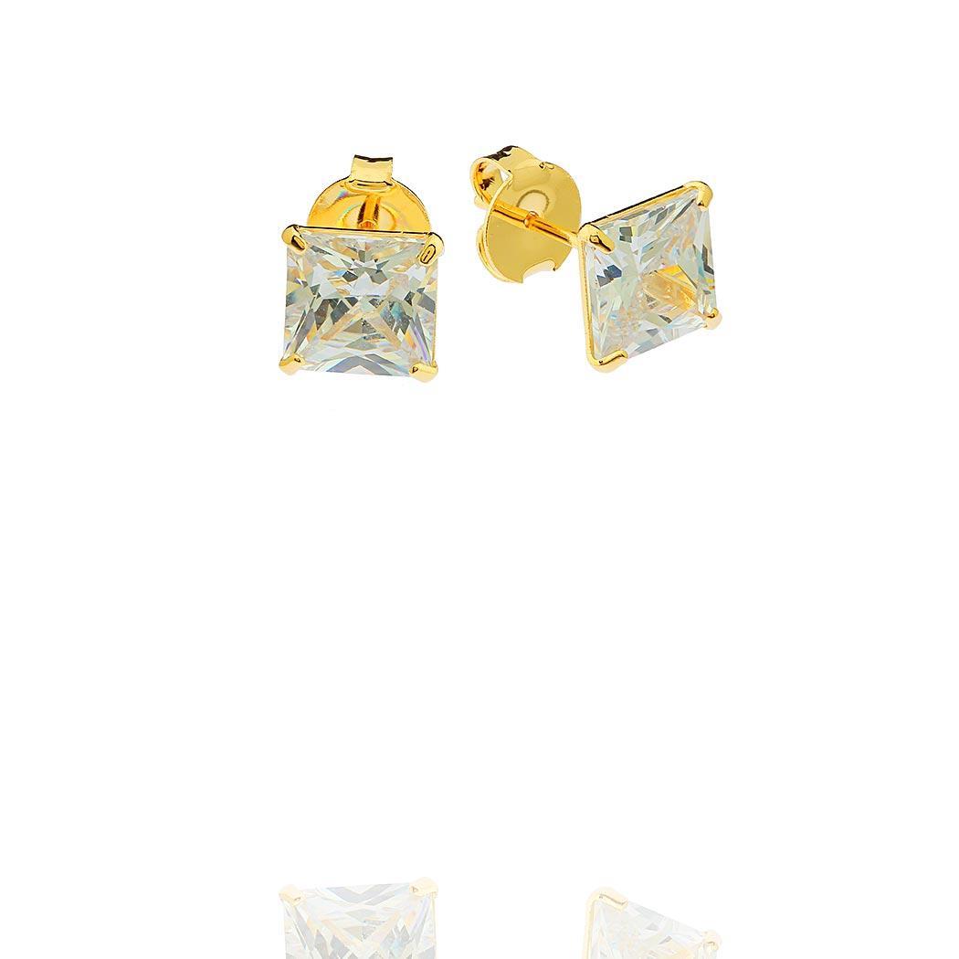 brinco solitario zircônia quadrada dourado