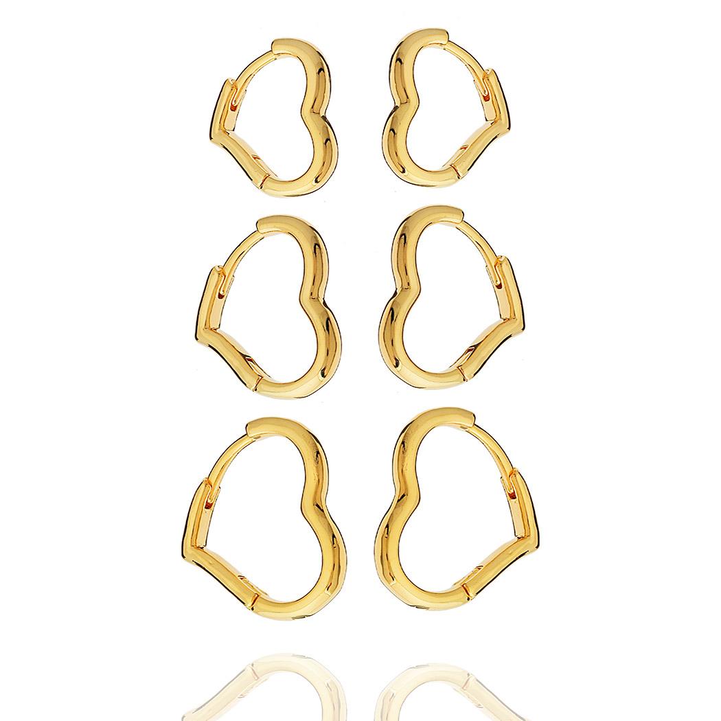 brinco trio argolas coração lisas dourado