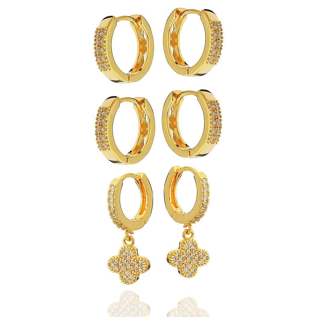 brinco trio argolas flor zircônias dourado