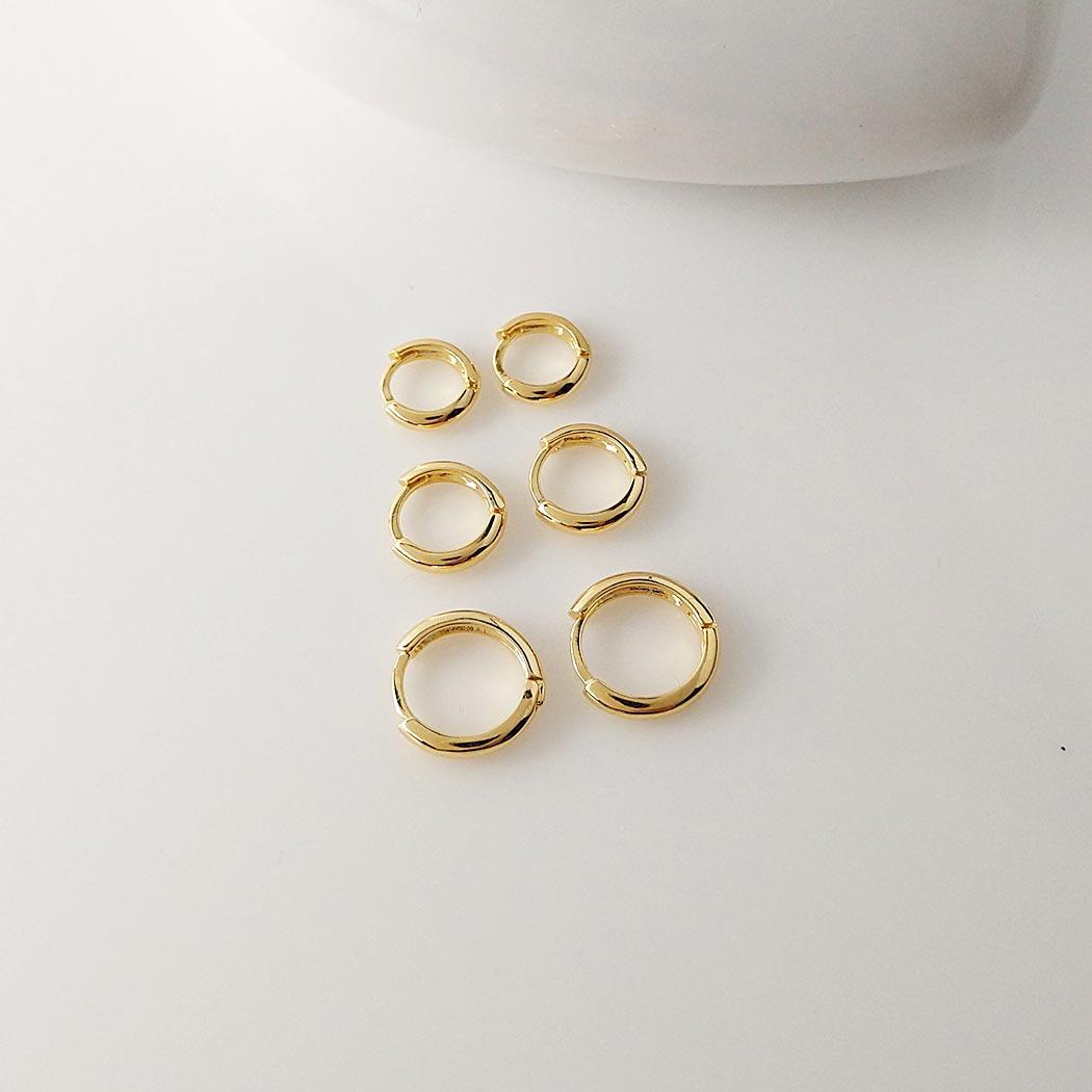 brinco trio argolas lisas dourado