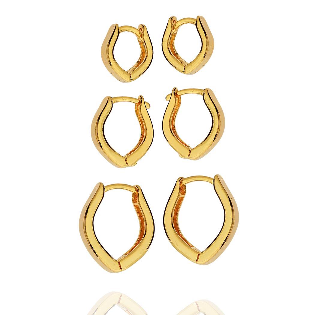 brinco trio argolas lisas navetes dourado