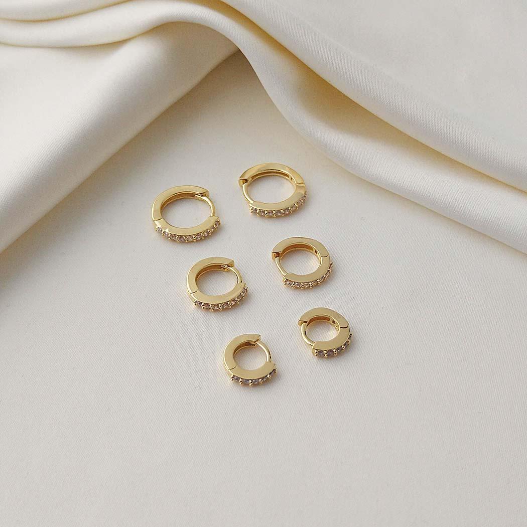 brinco trio argolas zirconia dourado