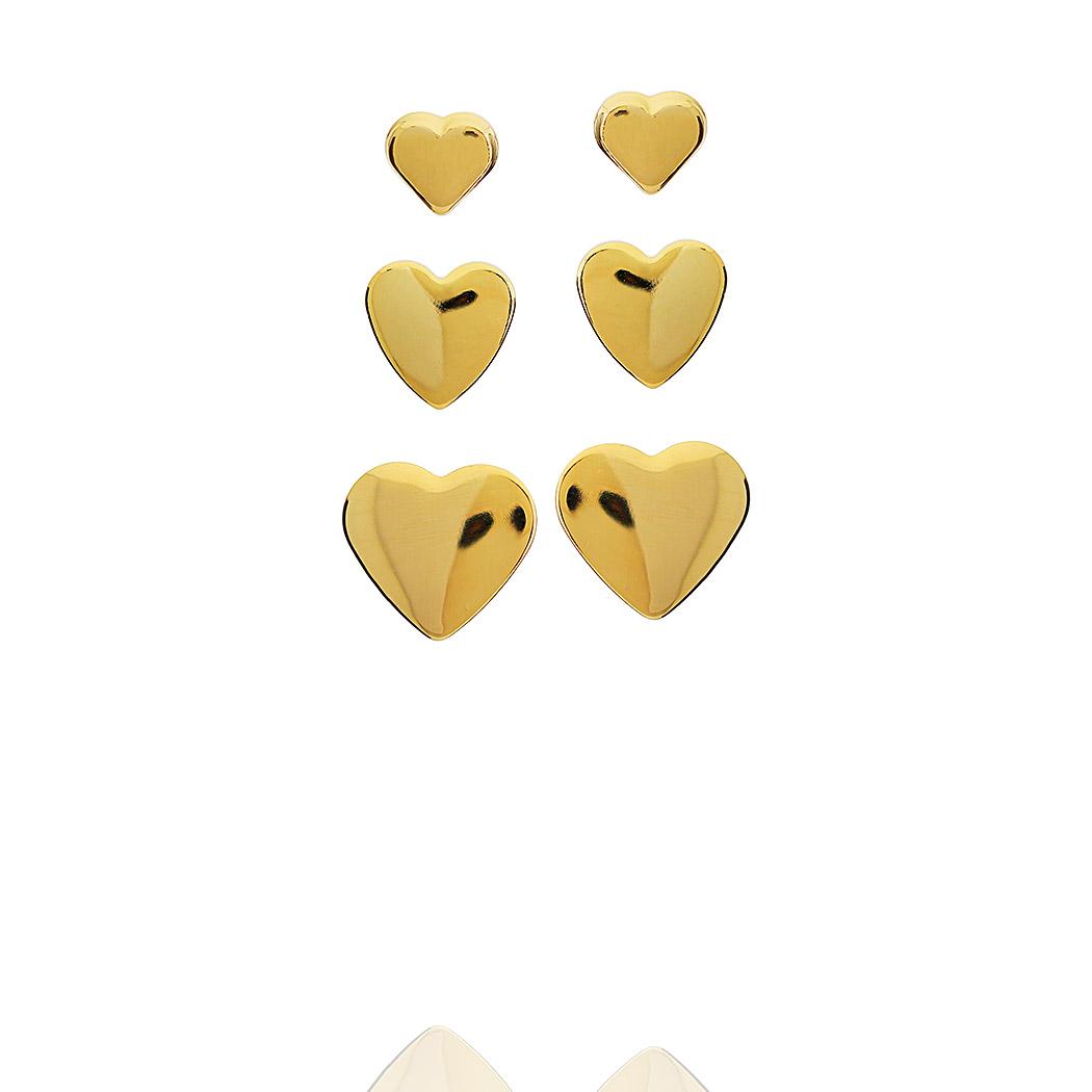 brinco trio coração liso dourado