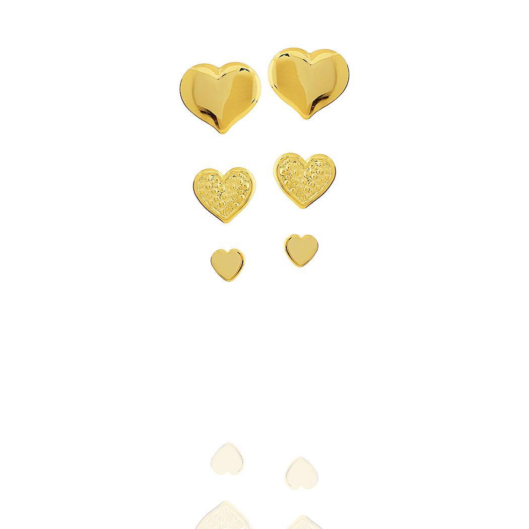 brinco trio coração dourado